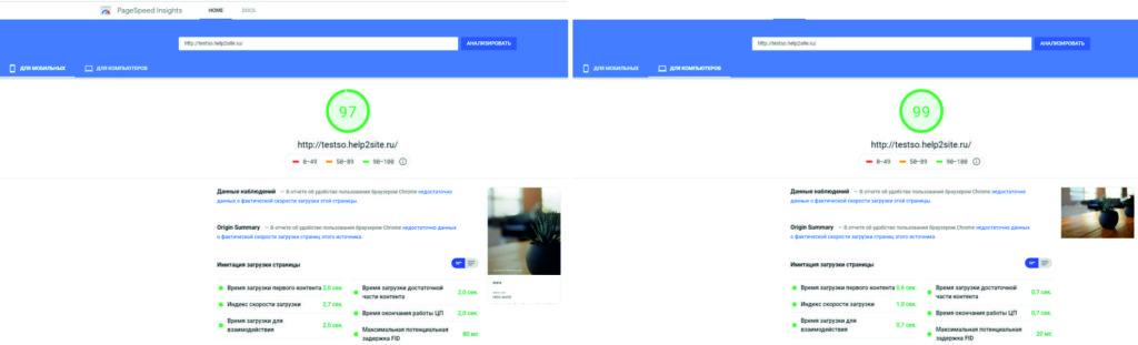скорость чистого сайта до установки SiteOrigin