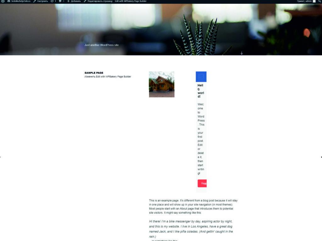 вид стандартного шаблона при создании сайта
